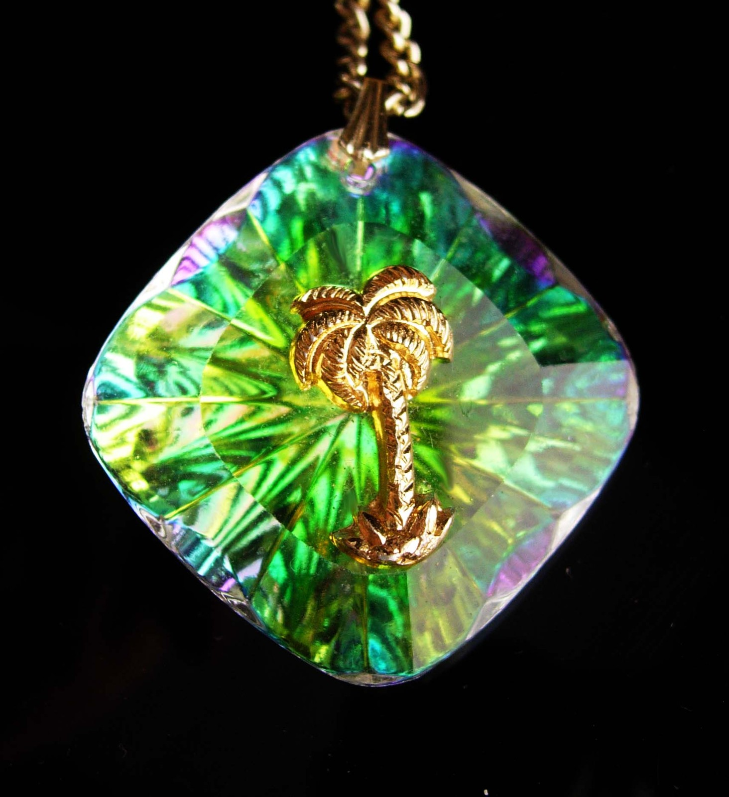 Primary image for Vintage Hawaii necklace / Glass palm tree large glass pendant - nautical gift -