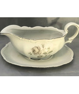 Vintage 1 PC Mystic Rose Mitterteich Gravy Boat Porcelain Bavaria Germany - $29.98