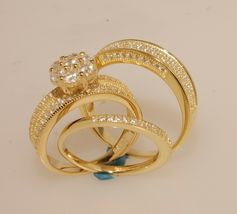 His & Hers Engagement Wedding Ring Trio Set Yellow Gold Over 925 Silver ... - $163.57