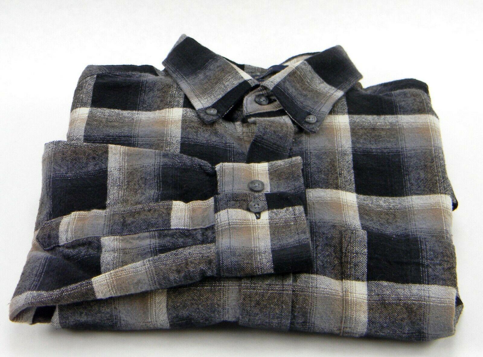 New Pendleton Mason Black Brown Ombre Plaid Long Sleeve Flannel Men's M Shirt image 2