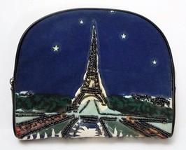 Eiffel Tower Beaded Cosmetic Make-Up Case Paradox Zipper Top Bag Vintage - $16.80