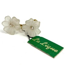 Vintage La Lique Frosted Plastic Flower Screw Clip On Earrings White Rhi... - $14.80