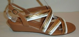 Amalfi Rangoni Size 9 M MONTE Brown Leather Wedge Heel Sandals New Women... - $148.50
