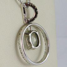 Necklace White Gold 750 - 18K, Pendant Aquamarine Frame & Oval Diamonds image 3