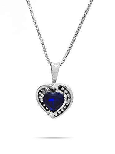 AFJewels 10 k White gold Created Sapphire Heart Pendant with Silver Chain