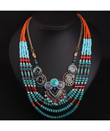 Turquoise lapis statement necklace,Tibetan necklaces,colourful jewelry,l... - £40.35 GBP