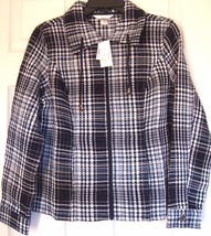 New Christopher And Banks Women's Waffle Zip Up Jacket Navy Plaid Size S - $29.69