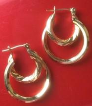 Vintage Gold Tone Double Hoop Earrings - $5.00