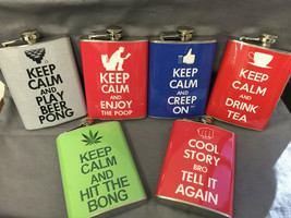 Set of 6 Keep Calm Various Set 2 Flasks 8oz Stainless Steel Hip Drinking - $36.58