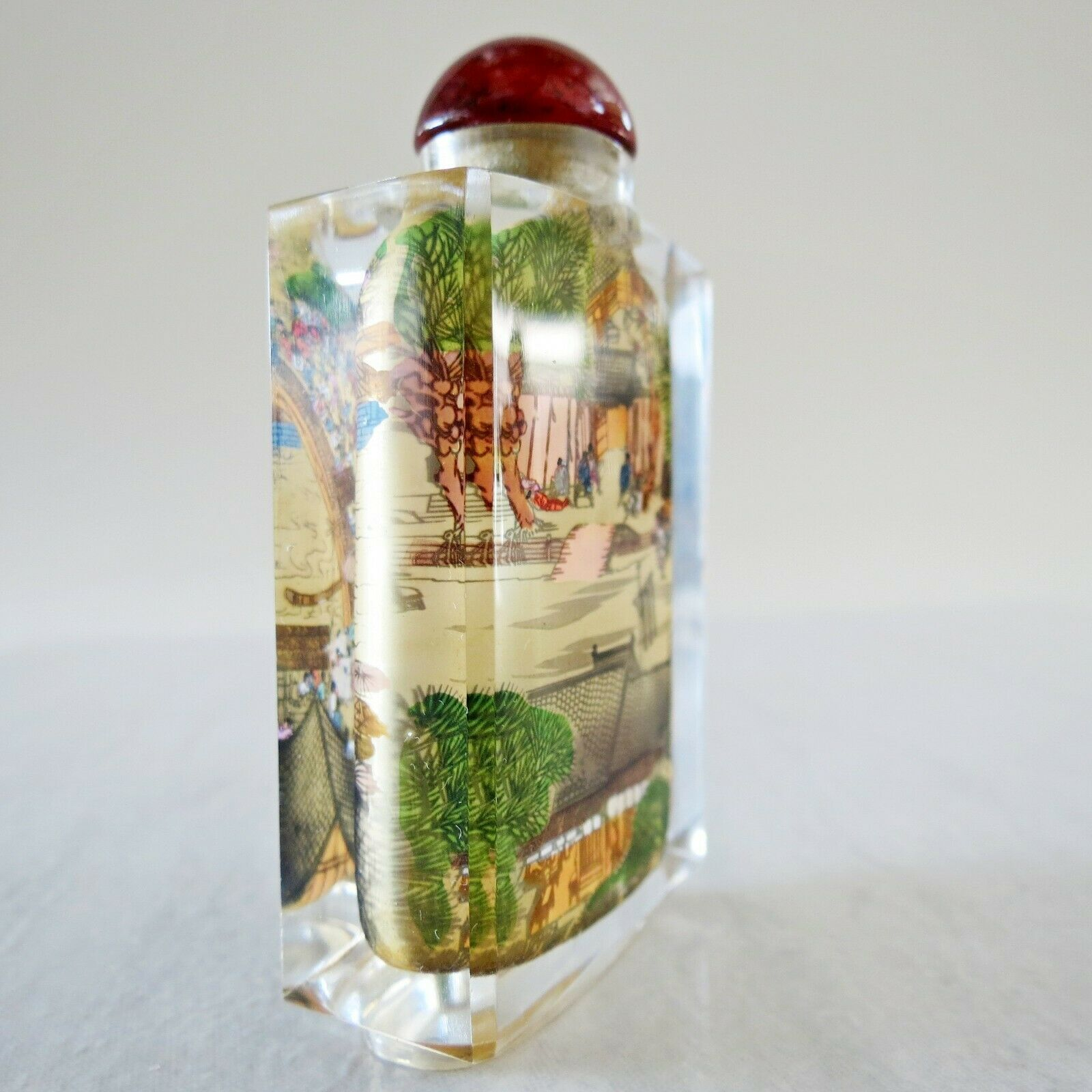 Antique Reverse Inside Painted Chinese Community Scenes Snuff Bottle 3.14x1.7in
