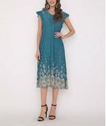 Beyond This Plane Women's Arabesque Flutter-Sleeve A-Line Dress (Turquoi... - $27.24