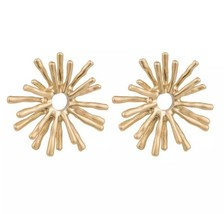 Sunburst Brushed Gold Post Earrings Lilly Styled Cute Colorful Chinoiserie - $21.34