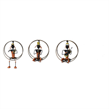 Hanging Musician Lady Set of Three pcs, Iron Made Hand Crafted Musical L... - $141.99