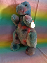 Vintage 1999 Ty Original Beanie Buddy Rex The Dinosaur Tie Dye Retired w... - $9.85