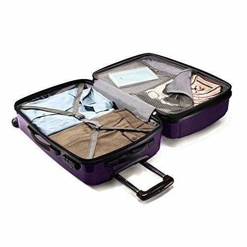 """28"""" Expandable Spinner Luggage Polycarbonate TSA Lock Rolling Suitcase Purple"""