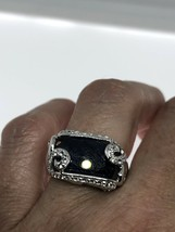 Vintage Blue Sapphire Ring White Sapphire 925 Sterling Silver Size 7.25 - $154.44