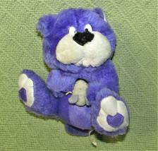 "6"" VINTAGE NANCO PURPLE TEDDY BEAR with GREY MOUSE PLUSH TOY STUFFED ANI... - $11.88"