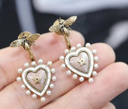 AUTHENTIC Christian Dior 2019 J'ADIOR Pink Heart Dangle Earrings Aged Gold  image 2