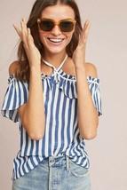 New Anthropologie Emilie Off-The-Shoulder Petite Blouse Striped Sp - $27.72