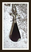 Large 70's vintage AVON Art Deco style pendant black onyx & brushed silv... - $18.95