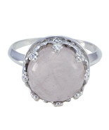 Rose Quartz ring 925 Sterling Silver Ring Brown Ring children jewelry Ge... - $28.66