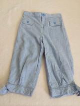 J Khaki 6X 6 Blue White Pinstripe Seersucker Bow Cuff Capri Pants Girls Nautical - $7.99