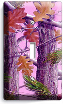 Pink Oak Leaves Mossy Tree Camo Camouflage Single Light Switch Plate Girls Room - $8.99