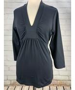 Patagonia Respite Top Tee Womens L V-Neck Wicking Stretch T-Shirt BLACK - $29.28