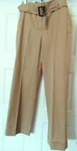 Talbots Petites Belted Cuffed Wide Leg Pant Tan Size 10 P Nwt - $29.95