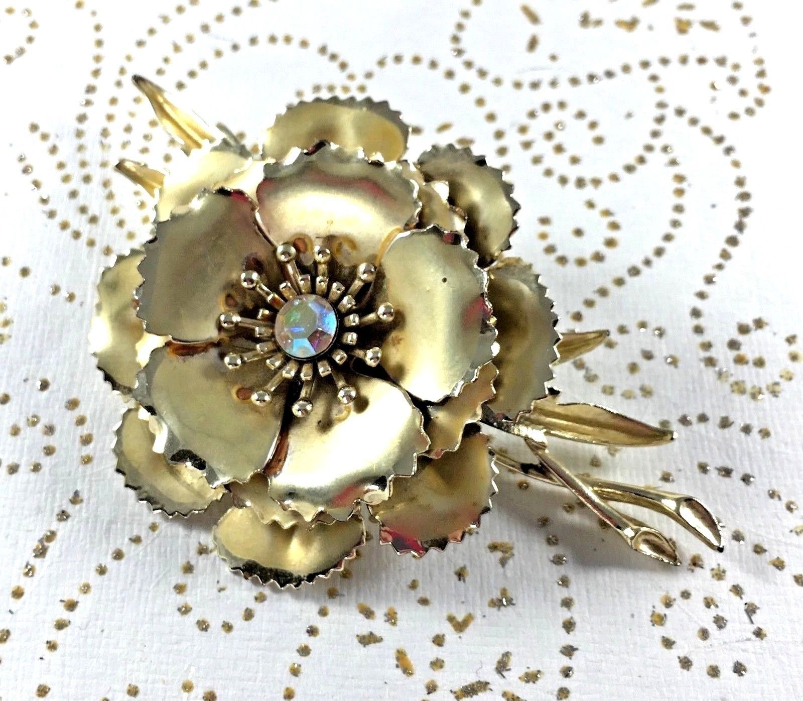 Statement Coro Pin Brooch Signed Flower AB Gold Toned Wedding Bridal Gift Vtg image 7