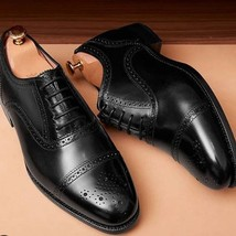 Handmade Men's Black Two Tone Brogues Style Dress/Formal Leather Shoes image 3