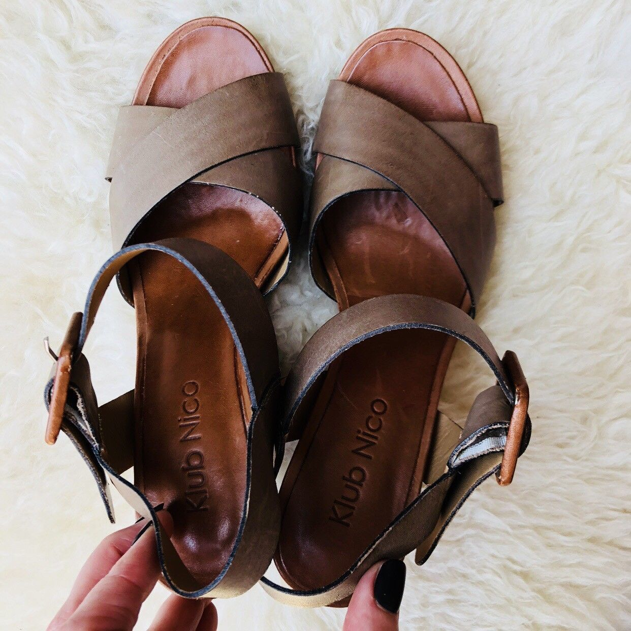 KLUB NICO Anthropologie Layered Wood Wedge Sandal Brown Leather Strappy Brazil 7