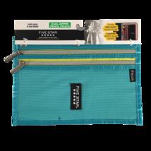 Mead Five Star Turquoise Dual Zipper 3 Anneau Binder Pencil Pouch School