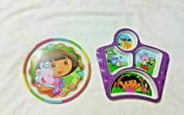 Dora Explorer Plates 1 Round 1 Divided Dinner Childs Plate Lot of 2  - $11.88