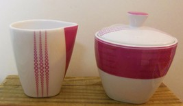 Hot Pink Cream & Sugar + Lid  Patra Thailand Fine Porcelain Squares and Circles - $16.00