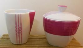 Hot Pink Cream & Sugar + Lid  Patra Thailand Fine Porcelain Squares and ... - $16.00