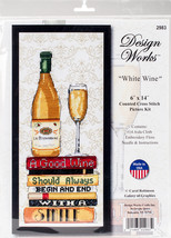 """Design Works Counted Cross Stitch Kit 5""""X7""""-White Wine (14 Count) - $22.68"""