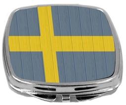 Rikki Knight Swedish Flag Compact Mirror Flag on Distressed Wood Design NEW - $12.00