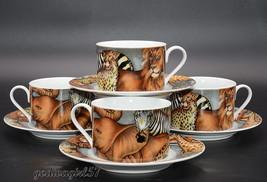 Sakura La Menagerie * 4 SETS CUPS & SAUCERS * Giraffe, Zebra, Lion, Tige... - $24.99