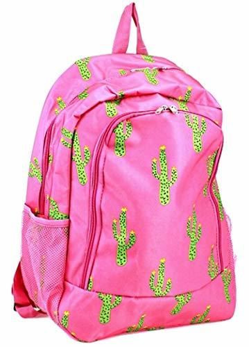 "Cactus Print 16"" School Backpack Hot Pink"