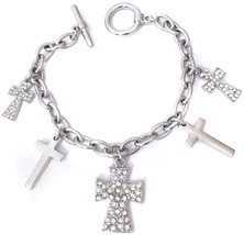 Silver Tone 5 Cross Charm Clear Rhinestone Dangle Toggle Bracelet - $65.75