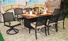 Luxury propane fire pit rectangle outdoor dining set 9 piece cast aluminum patio image 1