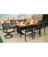 Luxury propane fire pit rectangle outdoor dining set 9 piece cast alumin... - $3,242.25