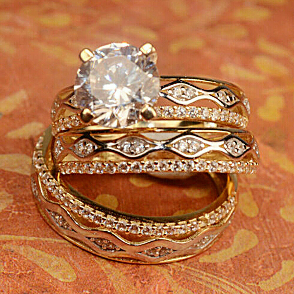 Primary image for Diamond 14K Yellow Gold Over Trio His And Her Bridal Wedding Engagement Ring Set