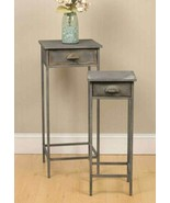 Country SET OF TWO BEDSIDE TABLES Farmhouse Rustic Primitive Vintage Gra... - $108.99