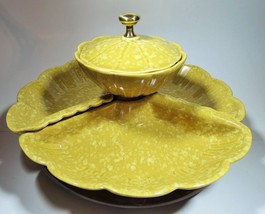 Ceramic Lazy Susan Relish Chip Tray Yellow 50's Made in USA - $27.10