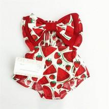 Newborn Baby Girl Cute Watermelon Strawberry Printed Swimwear Sleeveless - $9.89