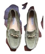 Ann Taylor WOMEN'S SIZE 6.5 M Green SUEDE LEATHER Gold HORSEBIT LOAFERS ... - $42.56