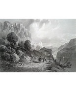 ITALY Rocca d'Anfo Lake of Idro - 1864 Fine Quality Print Engraving - $39.60