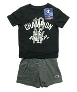 CHAMPION TODDLER BOYS 2PC AUTHENTIC ATHLETIC COTTON BLACK T SHIRT GREY S... - $9.89